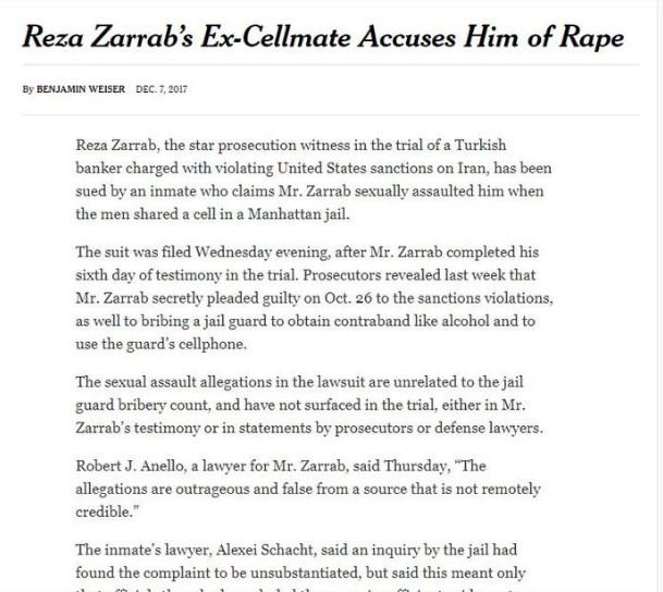 Reza Zarrab hücre arkadaşına tecavüz etti