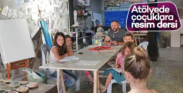 Sivaslı sanatçıdan, Balatlı çocuklara resim dersi