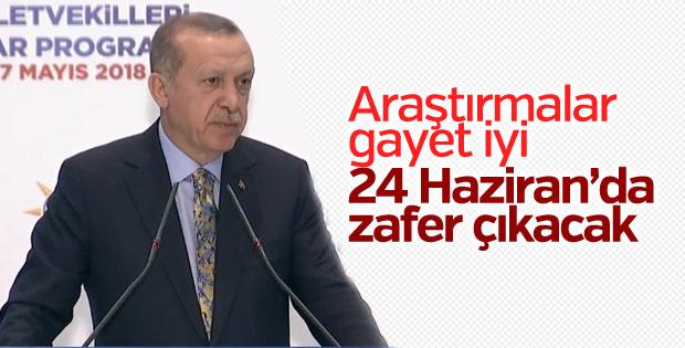 Erdoğan: Kamuoyu araştırmalarımız iyi