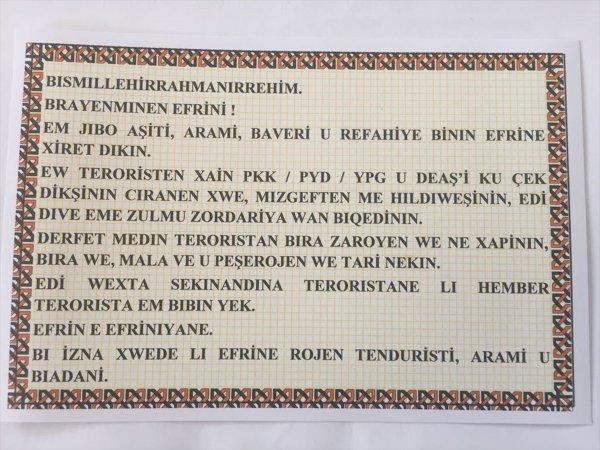 TSK Afrin'de havadan bildiri attı