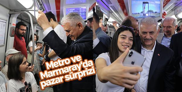 Başbakan, metro ve Marmaray'ı kullandı