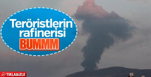 Afrin'de teröristlerin petrol rafinerisi vuruldu