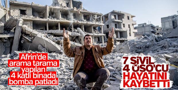 Afrin'de terör örgütünün tuzakladığı binada patlama