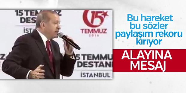 Erdoğan'ın tankları durduranlara övgüsü