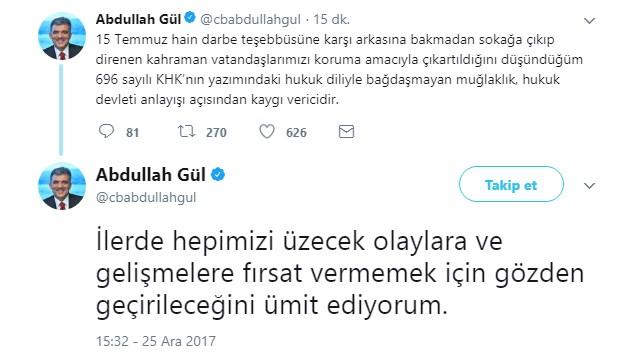 Gül, sivillere ceza muafiyeti KHK'sına tavır koydu