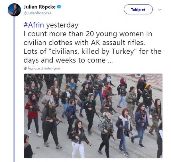 Afrin'deki sivil kıyafetli teröristler
