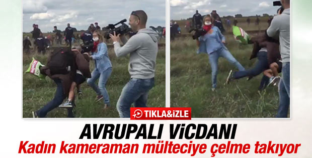 Kadın kameraman mülteciye çelme taktı İZLE