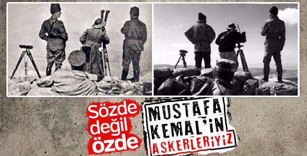 Zeytin Dalı Harekatı'ndaki Mehmetçiklerin Atatürk pozu