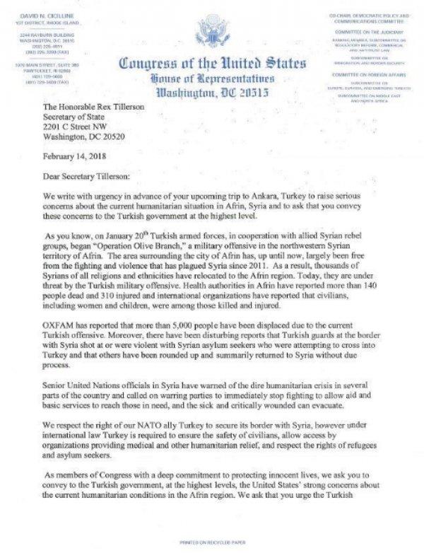Afrin için kaygılanan ABD'li kongre üyeleri FETÖ'cü çıktı