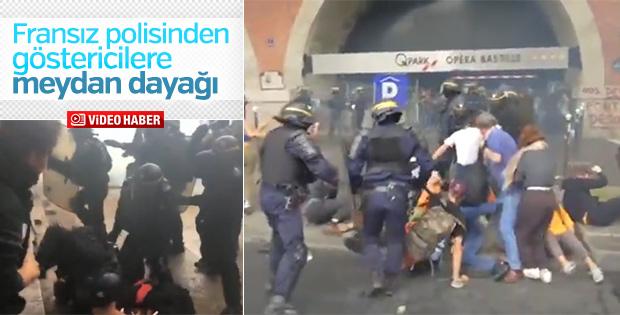 Fransa'da polislerden protestoculara dayak