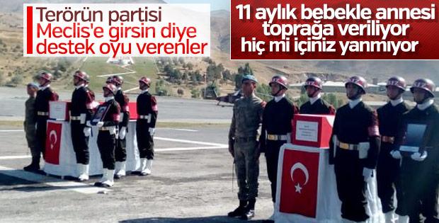 PKK'lıların şehit ettiği anne ve bebeğine cenaze töreni