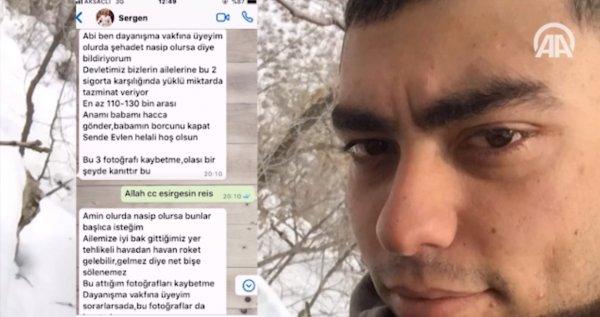 Şehit Sergen Pamukçu'nun vasiyeti
