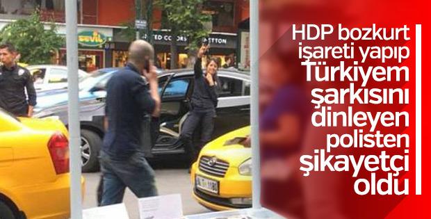 Kadın polis bozkurt işareti yaptı HDP'liler rahatsız oldu