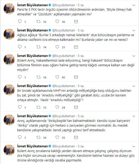 MHP'li Büyükataman Arınç'a Pinokyo dedi