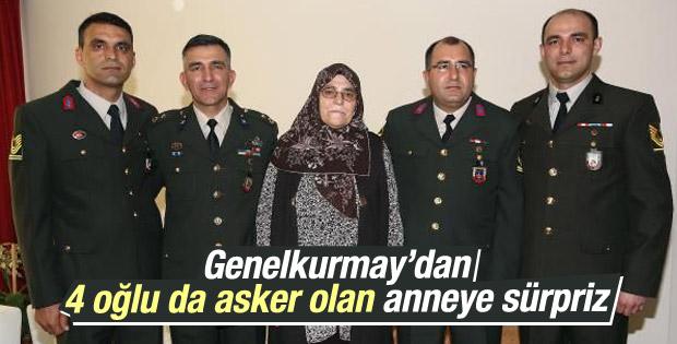 Genelkurmay'dan 4 çocuğu da asker olan anneye sürpriz