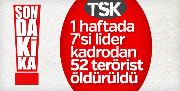Son bir haftada 52 terörist etkisiz hale getirildi