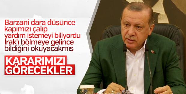 Erdoğan: Kuzey Irak'taki referanduma 'devam' diyemeyiz