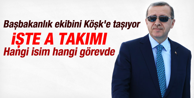 Erdoğan'ın Köşk a takımı belli oldu