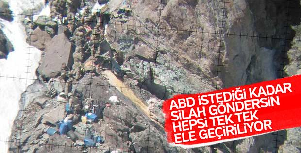 İkiyaka dağlarında teröristlerin silah deposu bulundu