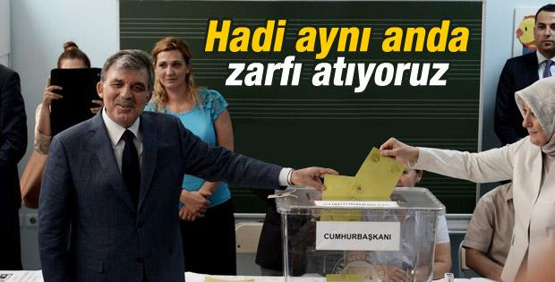 Abdullah Gül cumhurbaşkanı olarak son kez oy kullandı İZLE
