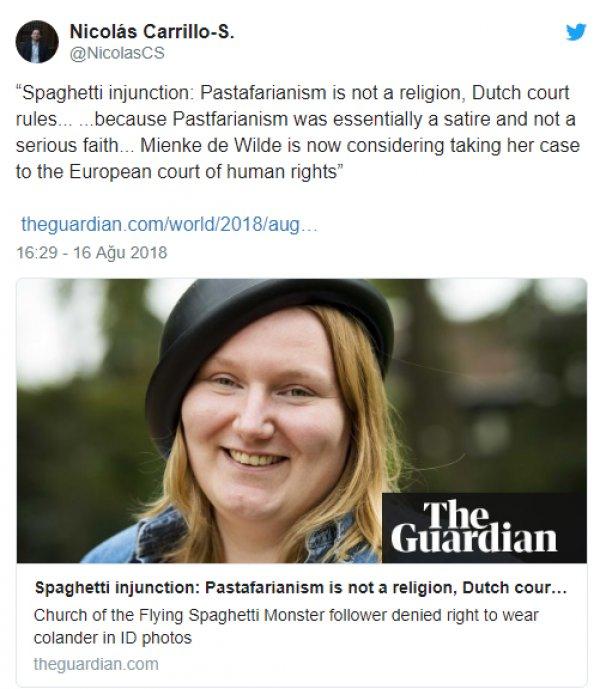 Hollanda'dan ilginç 'pastafaryanizm' kararı