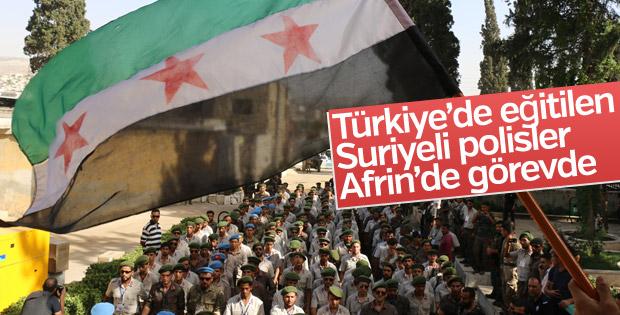 Türkiye'nin eğittiği Suriyeli polisler, Afrin'de görevde
