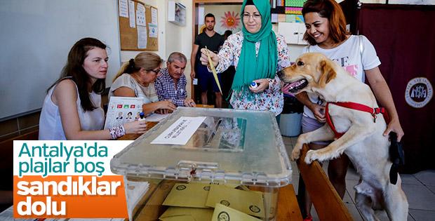 Antalya'da oy vermeye gidenler sahili boş bıraktı