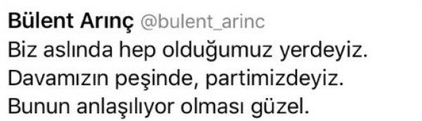 Bülent Arınç'ın sildiği gülücüklü tweet