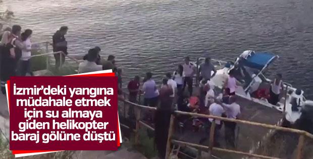 İzmir'de yangına müdahale eden helikopter düştü
