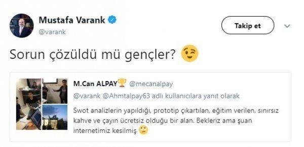 Sanayi ve Teknoloji Bakanı Varank'tan soruna anında çözüm