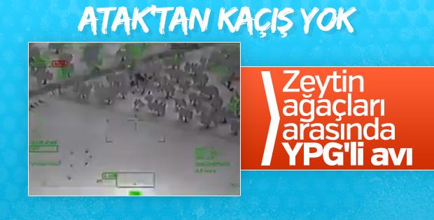 Afrin'de ATAK helikopteri teröristleri tek tek imha etti