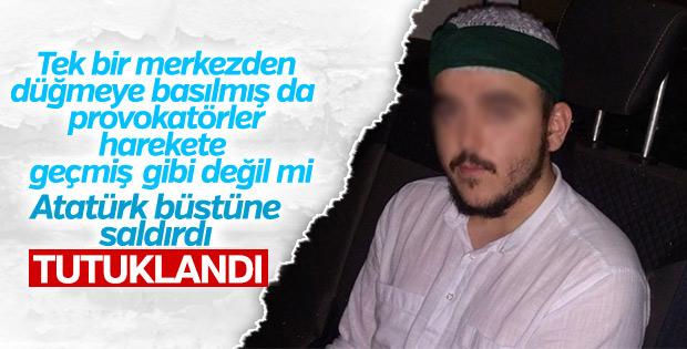 Atatürk büstüne saldırı güvenlik kamerasına yakalandı