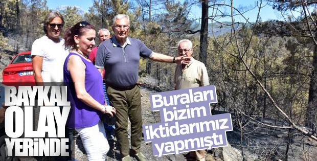 Deniz Baykal Alanya'da yanan ormanı gezdi