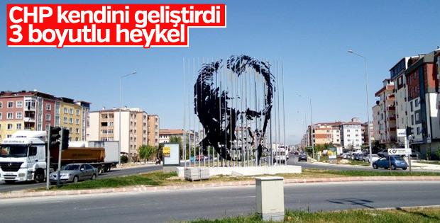 Tekirdağ Belediyesi'nden 3 boyutlu Atatürk silueti
