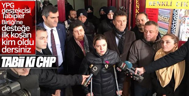 CHP'li vekiller Tabipler Birliği'nin önünde toplandı
