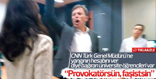 Öğrencilerle Erdoğan Aktaş arasında 'CNNTürk' kavgası