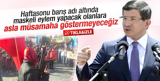 Başbakan Davutoğlu: Maskeliler gerekli cezayı alacak