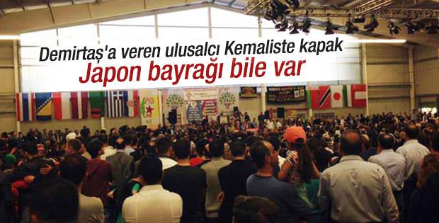 Demirtaş'ın mitinginde Türk bayrağı hariç 12 bayrak vardı