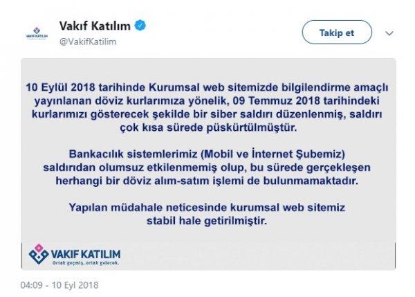 Vakıf Katılım Bankası'na siber saldırı