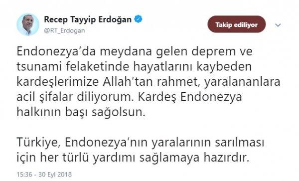 Başkan Erdoğan'dan Endonezya'ya yardım mesajı