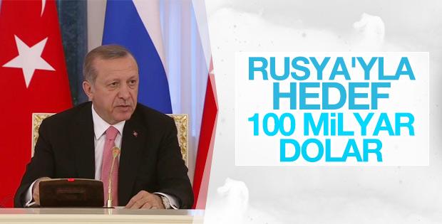 Erdoğan: Rusya'yla hedef 100 milyar dolar