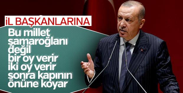 Erdoğan'dan il başkanlarına tevazu hatırlatması
