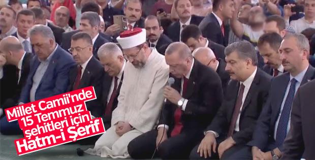 Beştepe Millet Camii'nde 15 Temmuz şehitleri Hatm-i Şerfi
