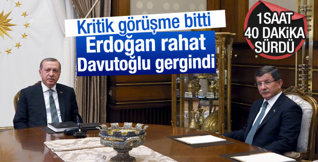 Erdoğan ile Davutoğlu'nun görüşmesi 1 saat 40 dakika sürdü