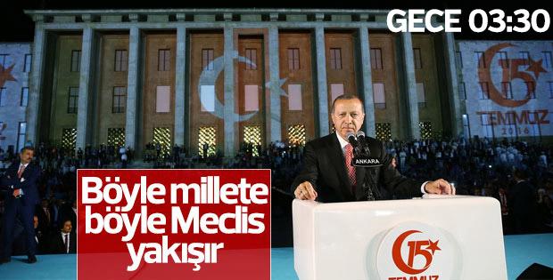 Cumhurbaşkanı Erdoğan Meclis önünde konuştu