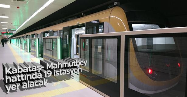 Kabataş- Mahmutbey hattında 19 istasyon yer alacak