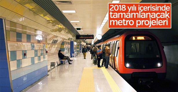 2018 yılı içerisinde tamamlanacak metro projeleri