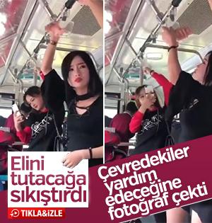 Otobüste elini tutacağa sıkıştıran kızın çaresizliği