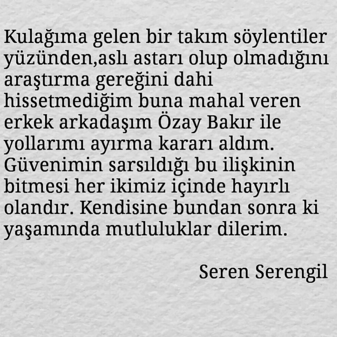 Seren Serengil sevgilisini terk etti