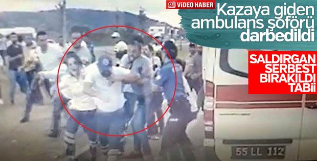 Samsun'da 112 Acil Servis şoförünün darbedildiği anlar